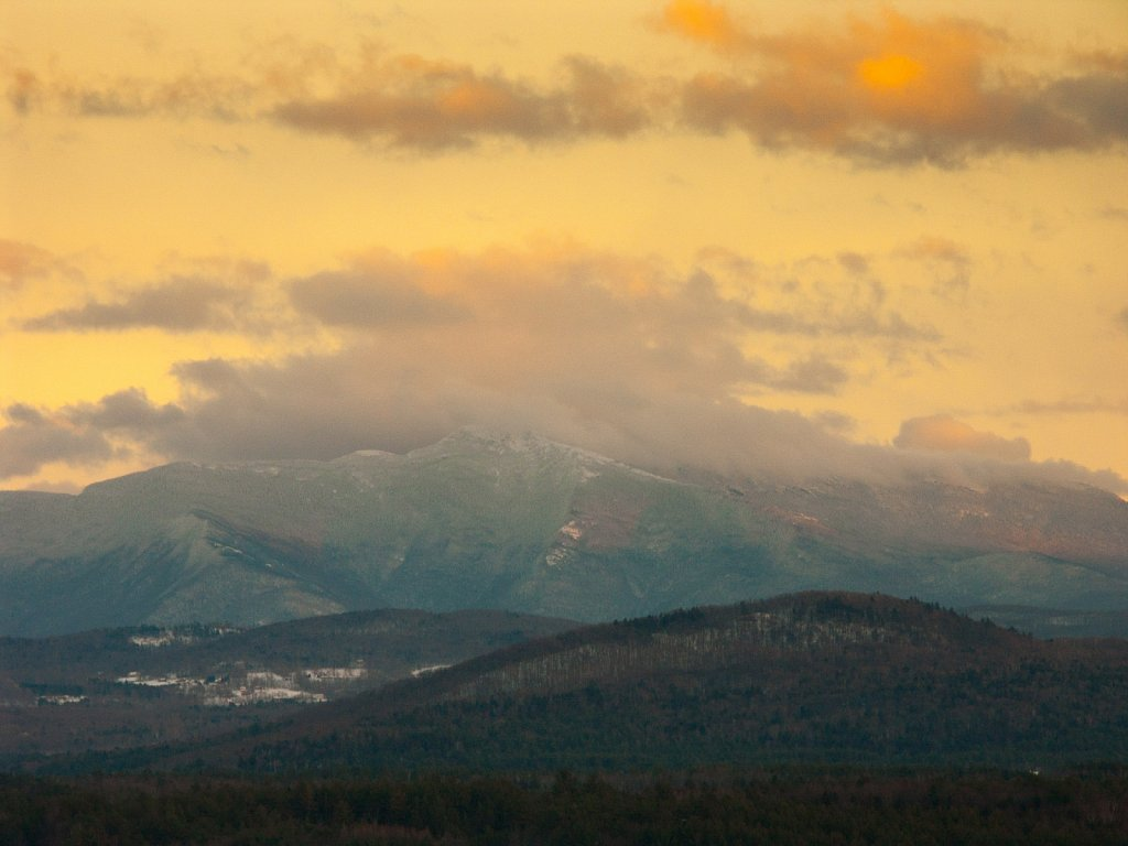 A winter storm clears over Mt Mansfield VT