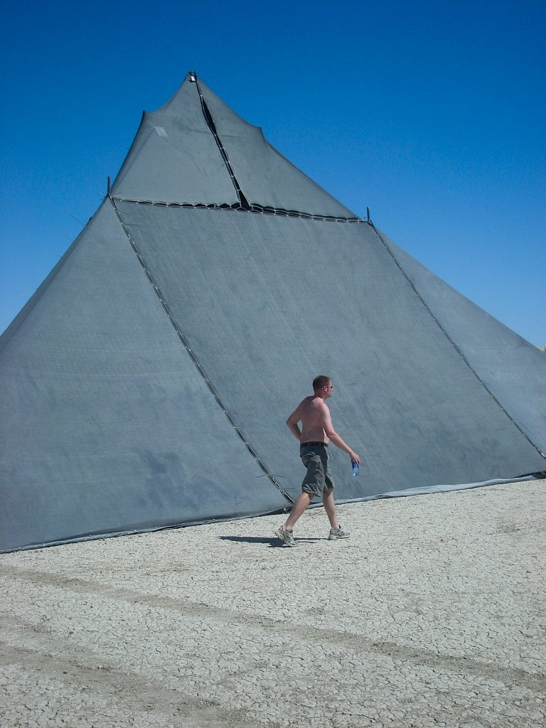 Matt walks in front of Shady at Burning Man 2006