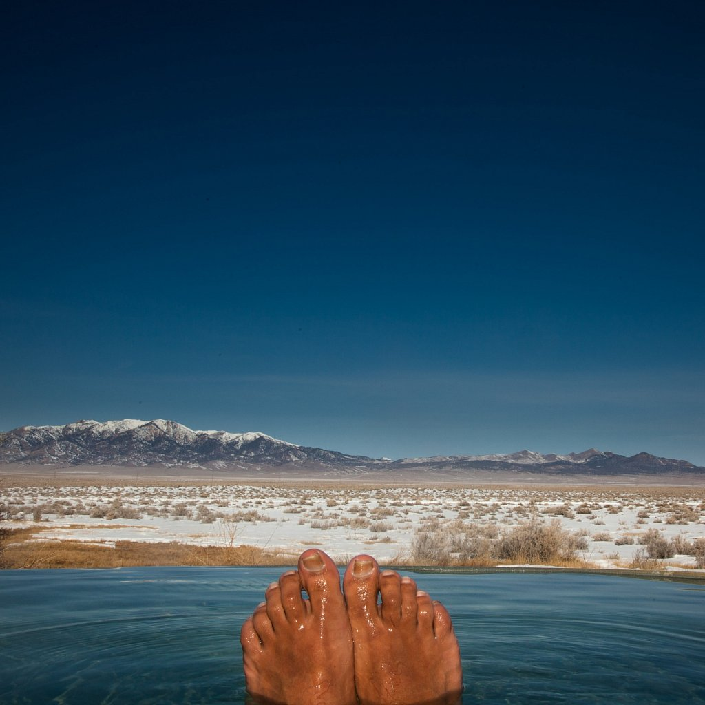Happy feet belong in hot springs and hot springs belong in Nevad