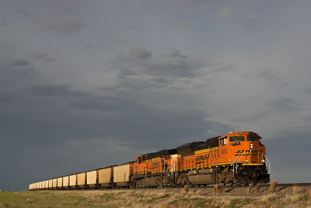 Burlington Northern Santa Fe locomotive pulling coal cars across
