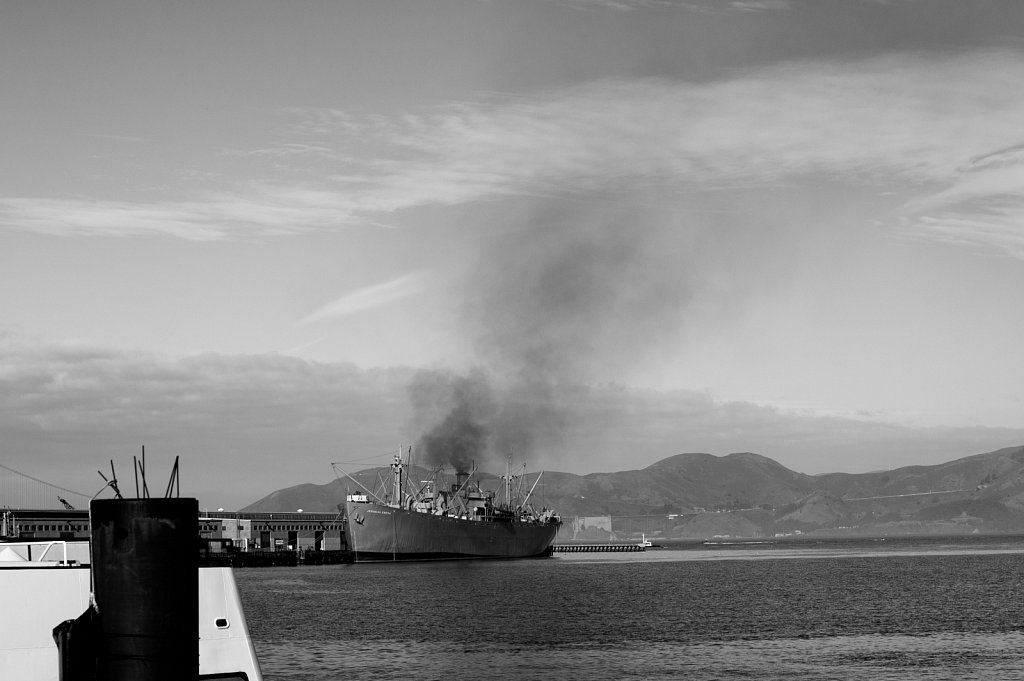 Ship Smoking against Marin and the Golden Gate Bridge
