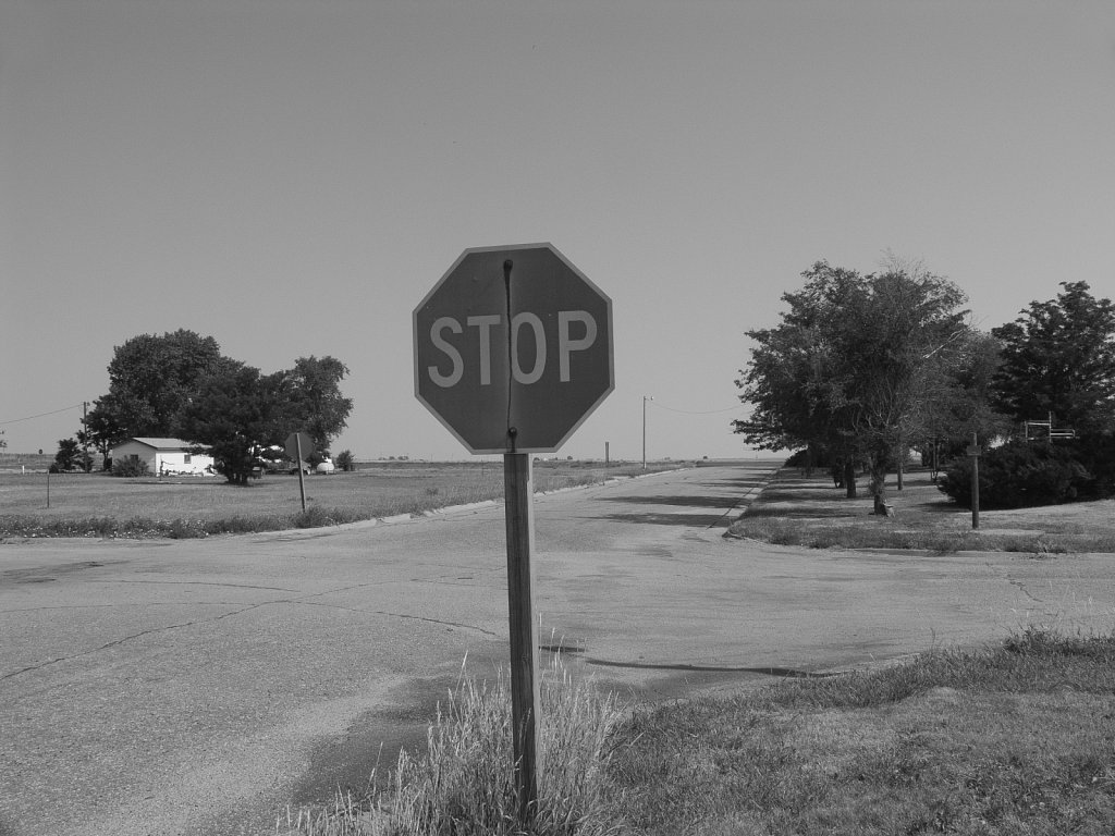 Stop and look both ways very carefully Nicodemus Kansas