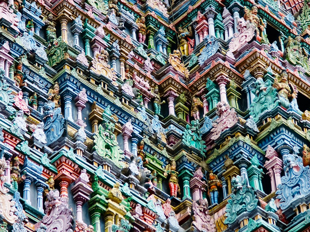 Detail of decorations on the Meenakshi Amman Temple