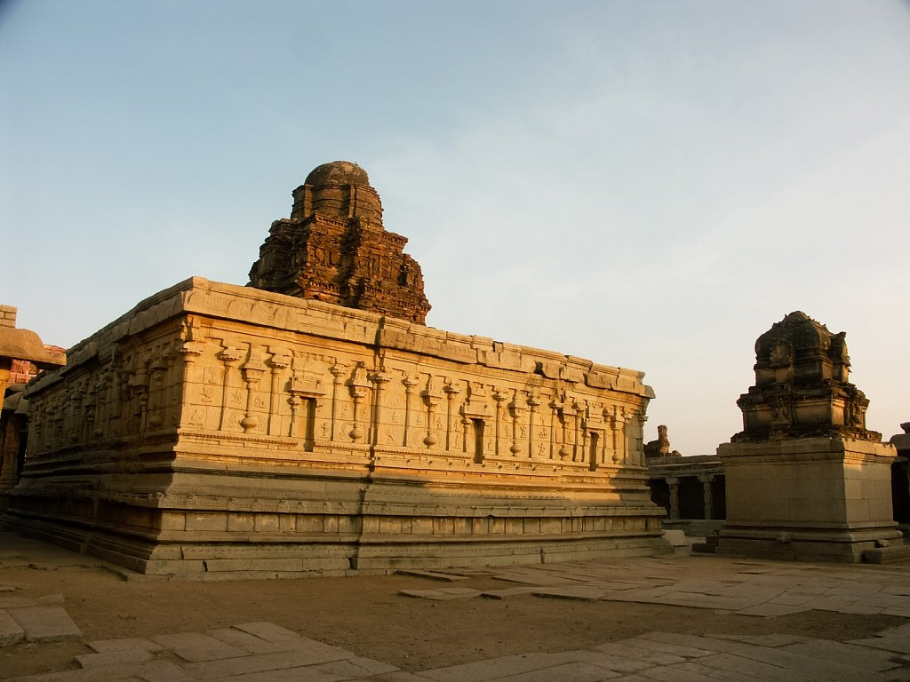 Wide angle view of a temple at sunset in Hampi