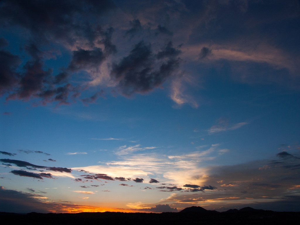 Sunset sky over the Cerrillos Hills near Santa Fe New Mexico