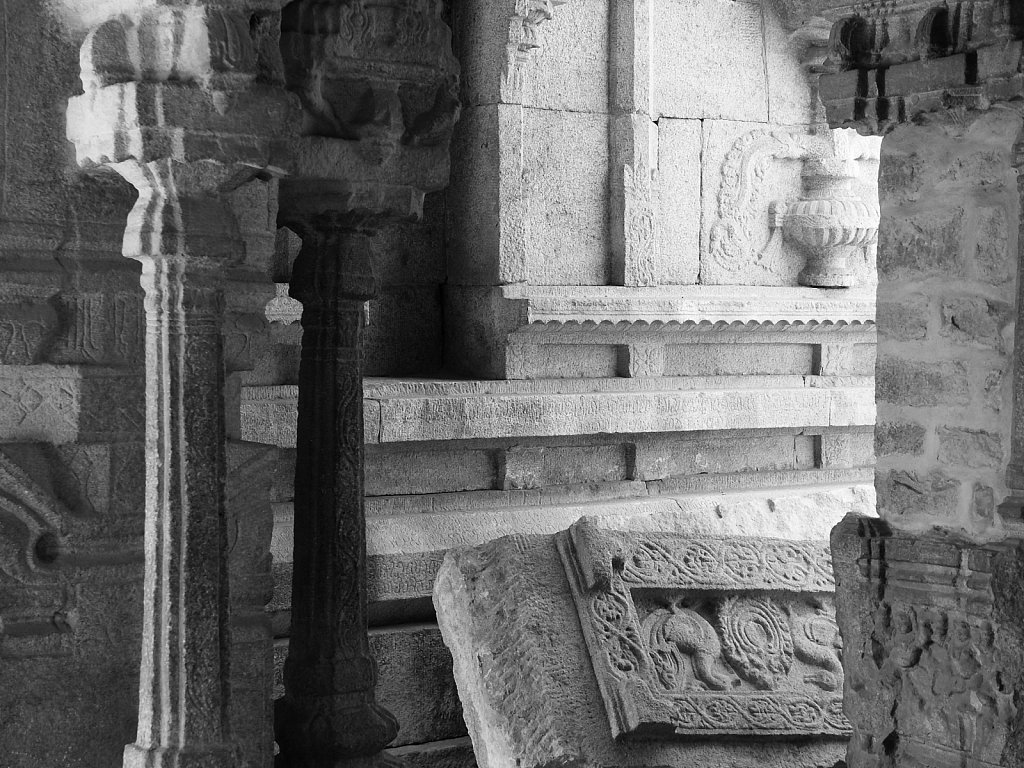 Fallen slabs on stone and columns in Hampi India
