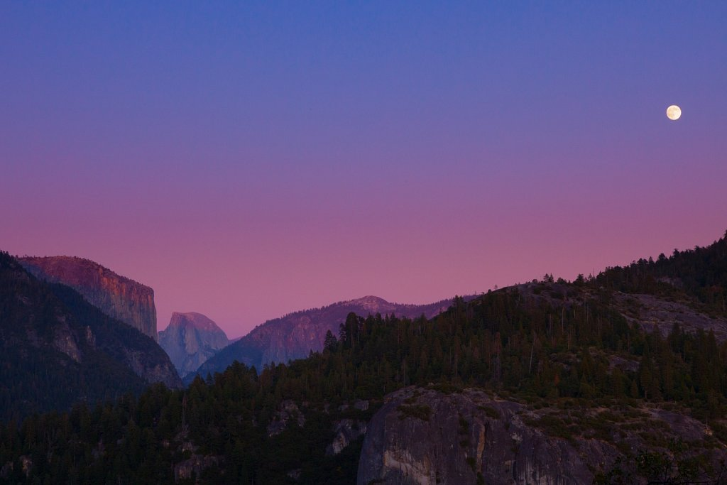 Full moon rising over Half Dome and Yosemite