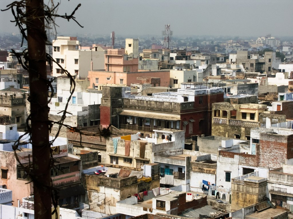 Barbed wire and the skyline of Varanasi