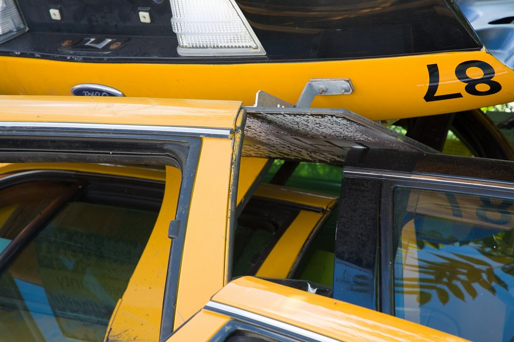 Jumbled up taxicab doors and trunk deck Cambridge Massachusetts