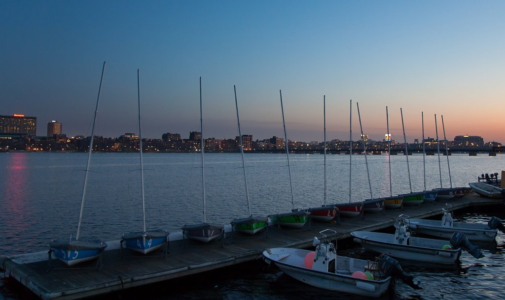 Sailboats on the MIT dock, Charles River, Cambridge, MA