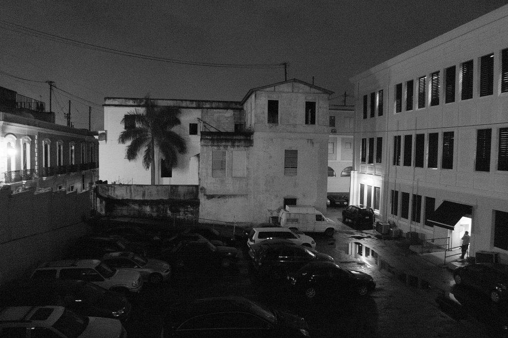 Parking lot at night in old San Juan